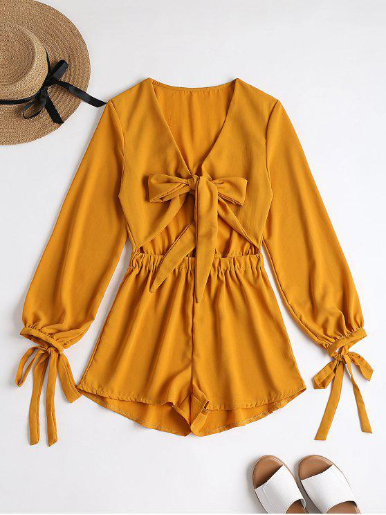 best Plunging Neck Bowknot Cut Out Romper - MUSTARD S
