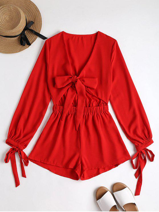 women's Plunging Neck Bowknot Cut Out Romper - RED M
