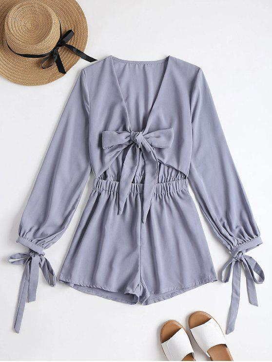 online Plunging Neck Bowknot Cut Out Romper - SMASHING M