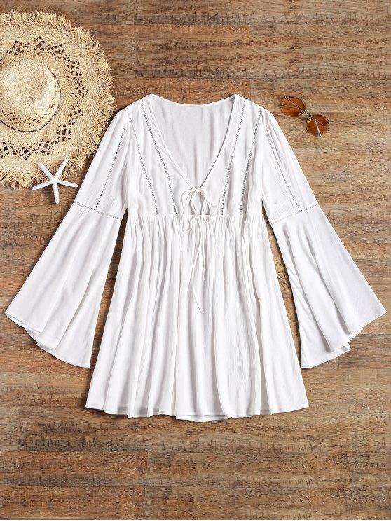 طويل كم مضيئة التعادل الجبهة فستان الشاطئ - أبيض L