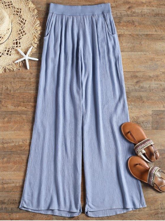 Pantalon de Plage Palazzo Frisé à Taille Élastique - Bleu L