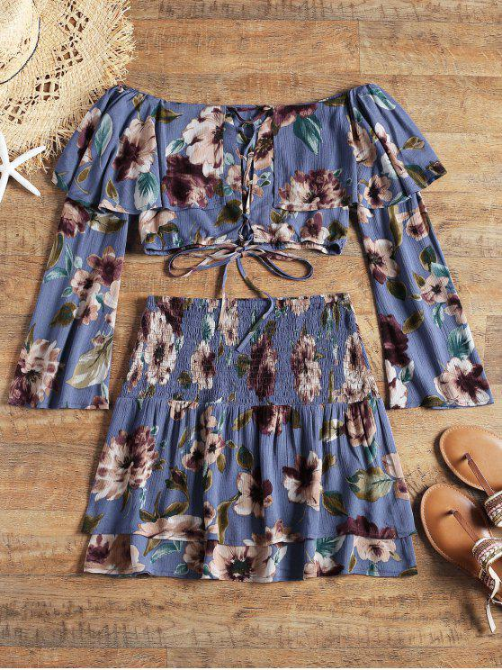 women Floral Lace Up Top and Smocked Tiered Skirt - BLUE M