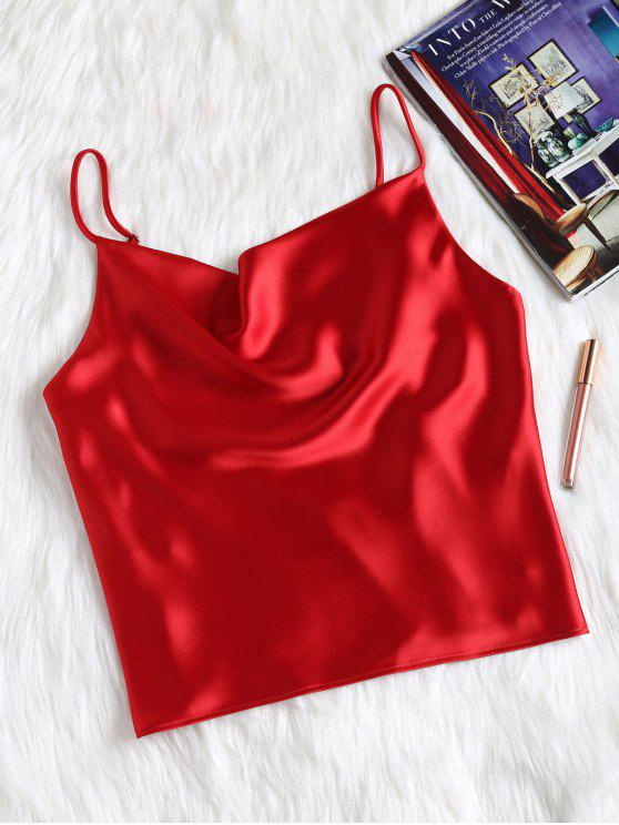 women's Satin Oversized Cami Tank Top - RED S