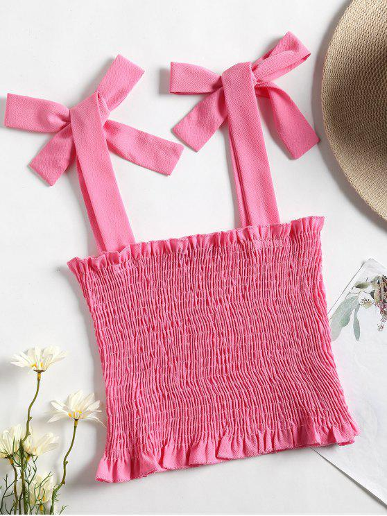 unique Cropped Smocked Tank Top - PEACH RED M