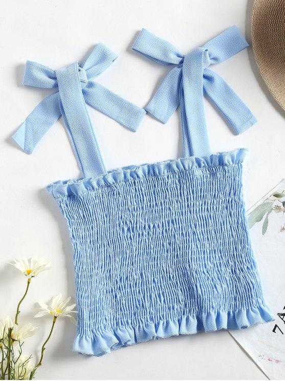latest Cropped Smocked Tank Top - LIGHT BLUE S
