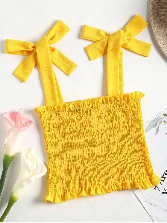 outfit Cropped Smocked Tank Top - YELLOW M