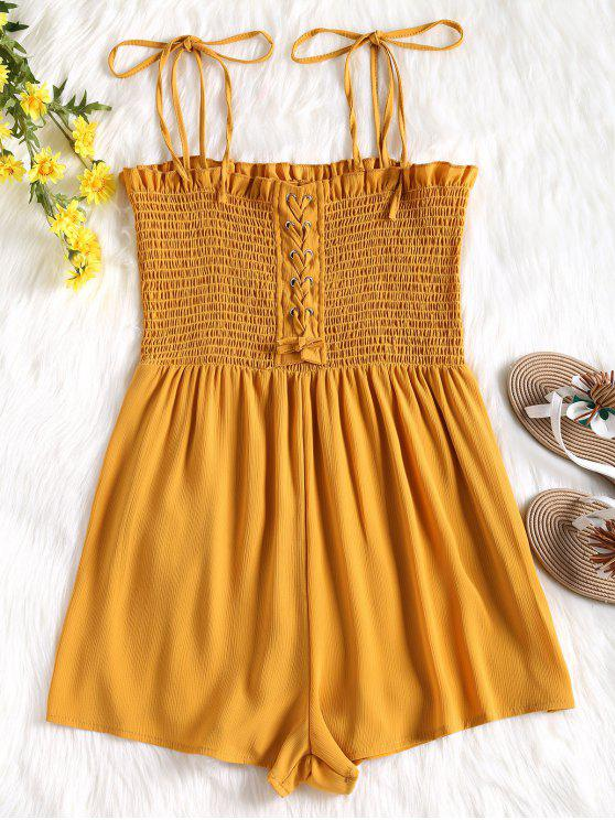 latest Cami Lace Up Smocked Romper - MUSTARD L