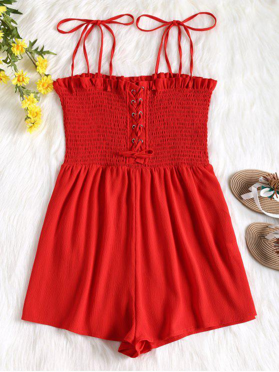 ladies Cami Lace Up Smocked Romper - RED XS