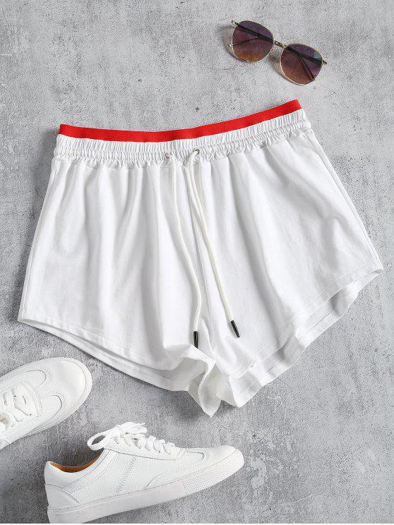 online Sporty Drawstring Two Tone Shorts - WHITE L