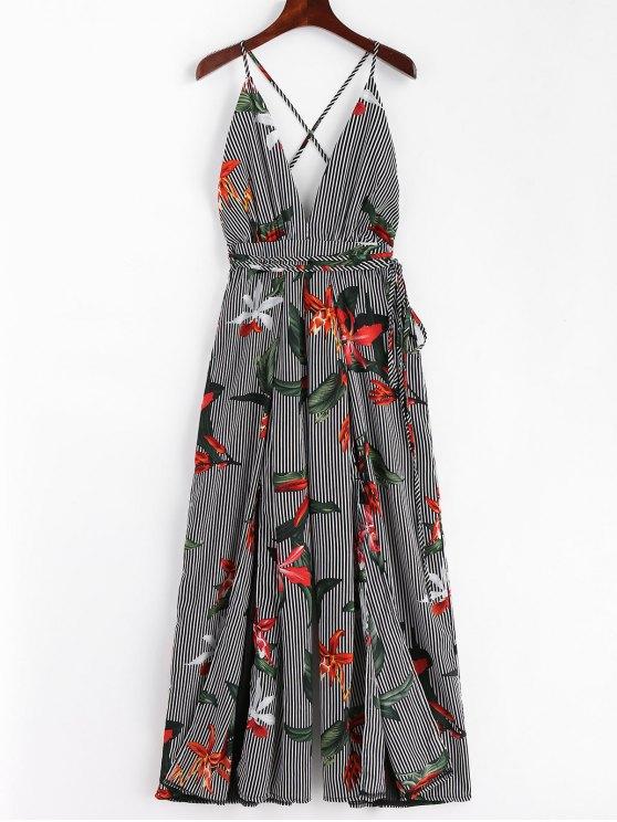 latest selection of 2019 purchase newest 2019 discount sale Slit Wide Leg Stripes Floral Jumpsuit FLORAL