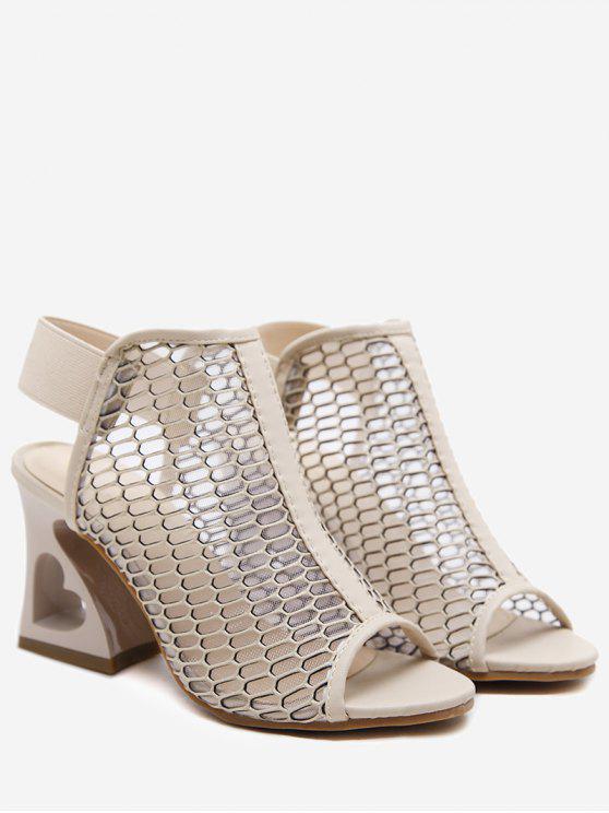 Sandali Con Tacco Alto E Fascia Elastica A Cuore - Albicocca 39