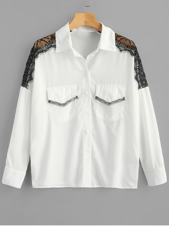 womens Scalloped Lace Panel Shirt with Pockets - WHITE XL