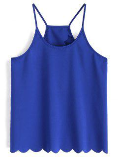 Scalloped Hem Back Slit Cami Top - Royal L