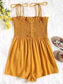 Cami Lace Up Smocked Romper - Mustard M