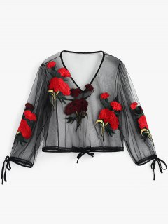 See Through Gauzy Embroidered Blouse - Black S