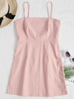 Cami Side Buttoned Mini Dress - Pink M