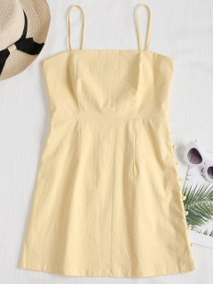 Cami Side Buttoned Mini Dress - Light Yellow M