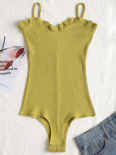 Ruffles Ribbed Cami Bodysuit - Olive Green M