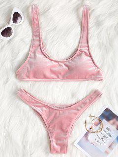 Hoher Bein Samt Bikini Set - Pink S