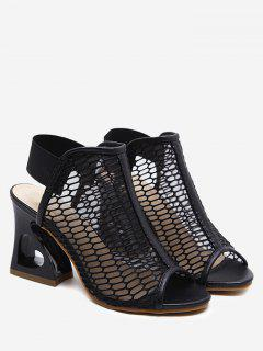 Elastic Band High Heel Sandals - Black 37