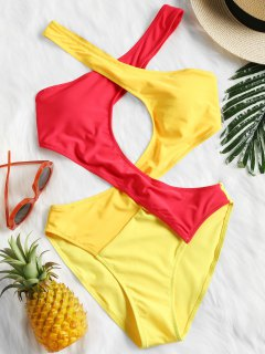 Color Block Monokini - Yellow S