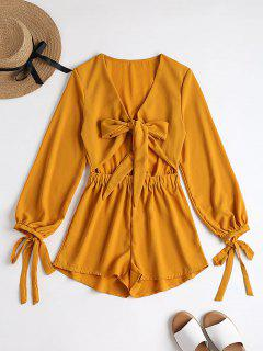 Plunging Neck Bowknot Cut Out Romper - Mustard M