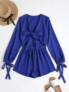 Plunging Neck Bowknot Cut Out Romper - Royal M