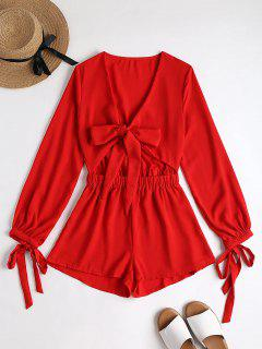Plunging Neck Bowknot Cut Out Romper - Red S
