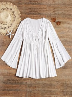 Long Flare Sleeve Tie Front Beach Dress - White L