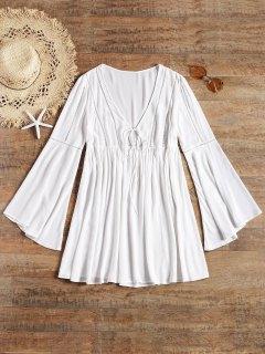 Robe De Plage à Manches Longues Évasées Avec Attaches Sur Le Devant - Blanc M