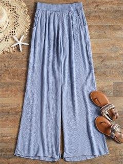 Elasitc Waist Crinkly Palazzo Beach Pants - Blue M