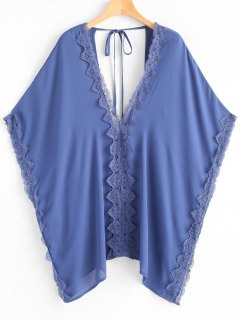 Plus Size Laced Chiffon Kaftan - Blue
