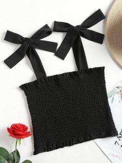 Cropped Smocked Tank Top - Black S