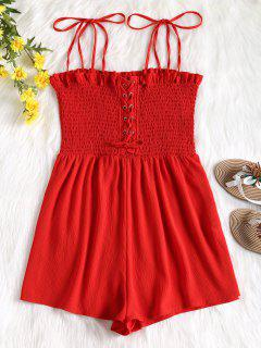 Cami Lace Up Smocked Romper - Red M