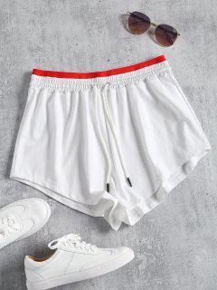 Sporty Drawstring Two Tone Shorts - White L