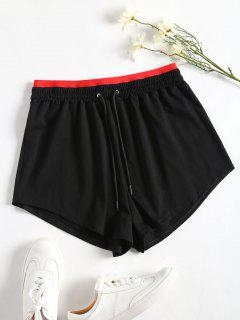 Sporty Drawstring Two Tone Shorts - Black L