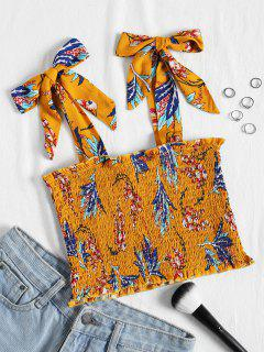 Tied Straps Smocked Cropped Tank Top - Ginger L