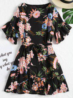 Floral Ruffles Belted Mini Dress - Black M