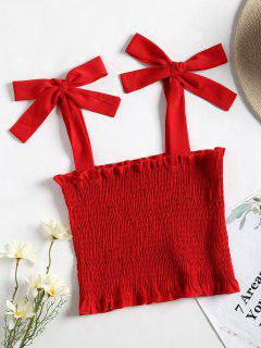 Cropped Smocked Tank Top - Red S