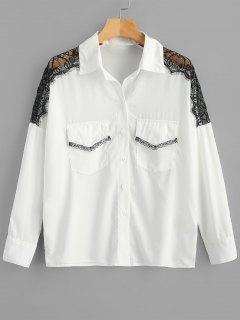 Camisa De Panel De Encaje Festoneado Con Bolsillos - Blanco Xl