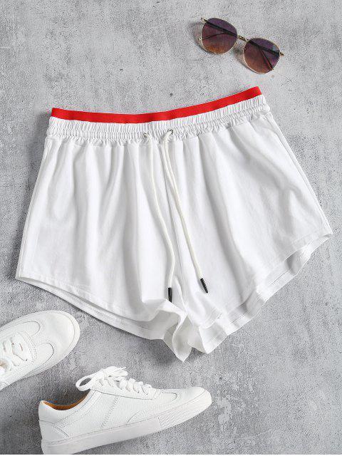 Sportliche Kordelzug Zweifarbige Shorts - Weiß L Mobile