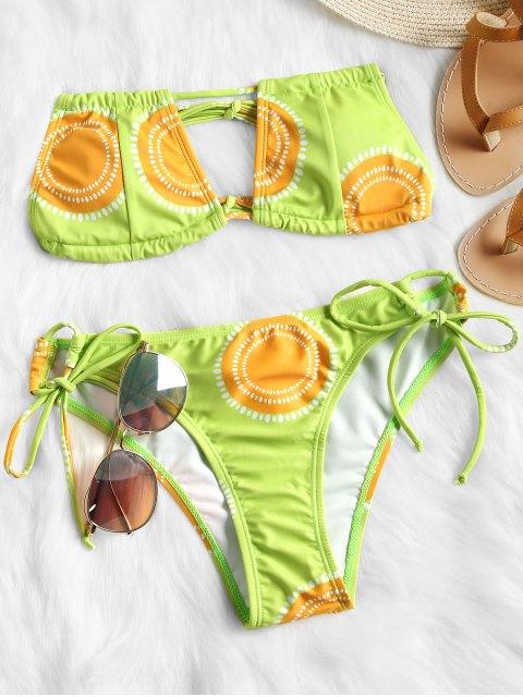 hot Cutout Printed Bandeau Bikini Set - NEON GREEN M Mobile
