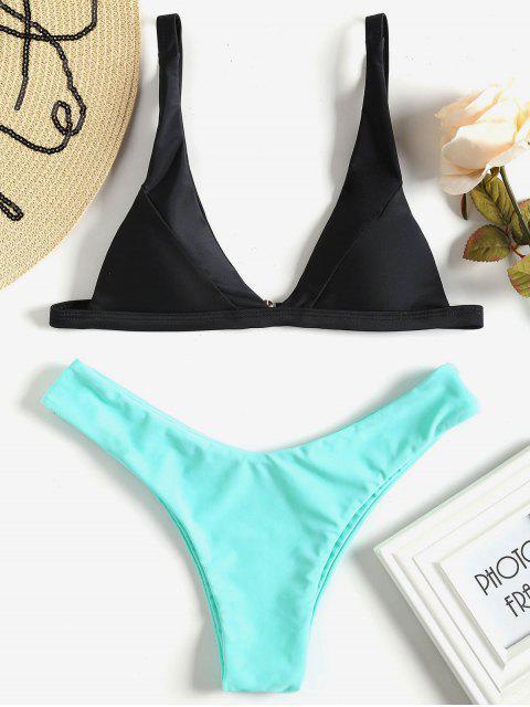 online Plunge High Cut Bikini Set - MINT S Mobile