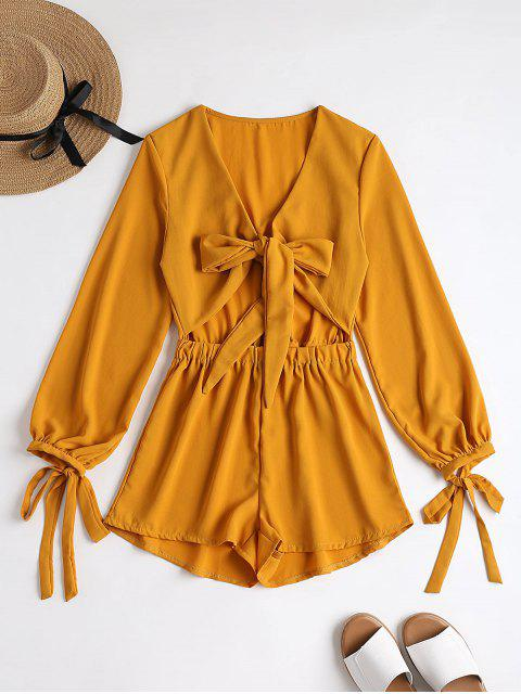 trendy Plunging Neck Bowknot Cut Out Romper - MUSTARD M Mobile
