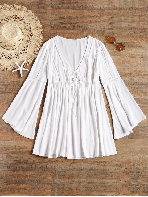best Long Flare Sleeve Tie Front Beach Dress - WHITE M Mobile