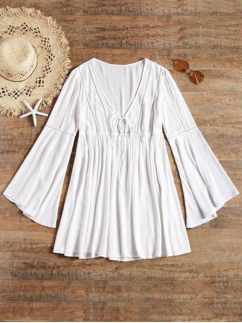 Vestido de playa largo con lazo anudado en la manga larga - Blanco S Mobile