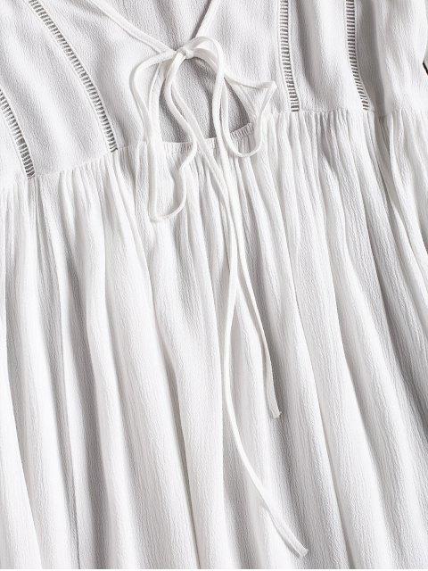 Robe de Plage à Manches Longues Évasées avec Attaches sur le Devant - Blanc S Mobile