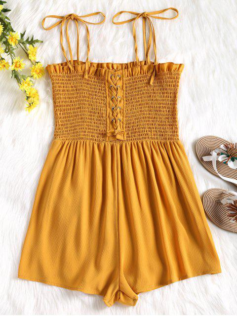 latest Cami Lace Up Smocked Romper - MUSTARD L Mobile