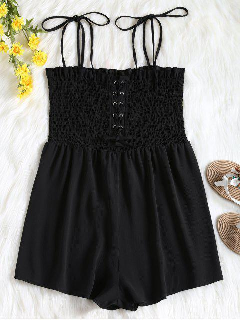 shop Cami Lace Up Smocked Romper - BLACK L Mobile