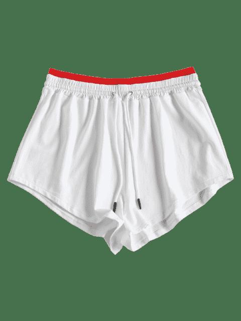 Short Sportif à Deux Tons à Cordon de Serrage - Blanc M Mobile